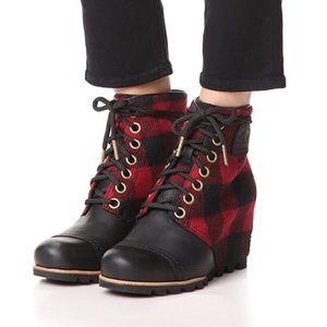 Sorel | PDX Wedge Buffalo Plaid Leather Wedge Boot